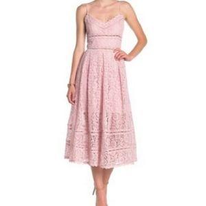 NSR pink midi lace sleeveless dress